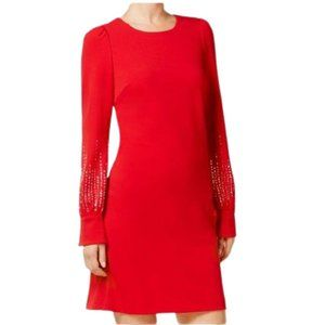 Calvin Klein Embellished Long Sleeve Sheath Dress in Red